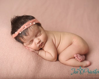 Newborn tie back photo photography prop baby girl headband delicate mohair peach apricot coral pink white faux pearls princess crown