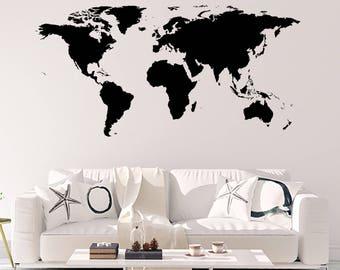 World map vinyl etsy world map sticker wall vinyl gumiabroncs Gallery