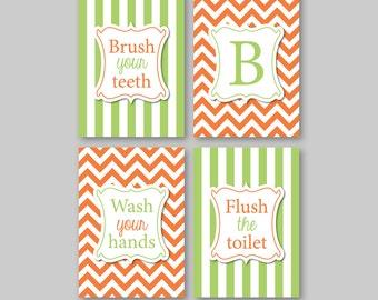 Monogram Bathroom Wall Art - Bathroom Decor - Bath Art - Bath Decor - Bathroom Rules Art Chevron Bathroom Art - Orange Apple Green (NS-582)