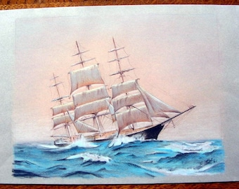 Tall Ship on Open Seas, Original Drawing