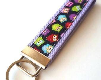 Owl KEY FOB Wristlet- Womens Gift Under 10- Owl Wrist Lanyard- Owl Keychain for Her- Wristlet Key Chain- Grad Gift for Her- Gift for Wife