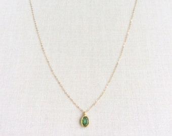 14k or 18k Solid Gold Emerald Necklace - 18k Emerald Necklace - 14k Gold Necklace Dainty - 14k Solid Gold Necklace - 14kt Necklace - 14KN5