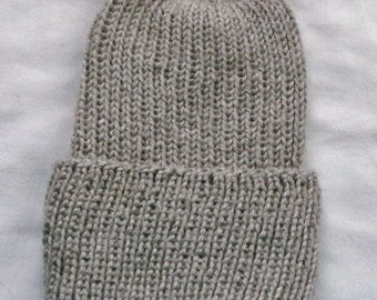 Free Shipping! New Hand-Knit Ribbed Adult Stocking Hat.