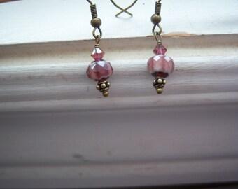 Purple Earrings - Purple Glass Earrings - Vintage Style Earrings - Moroccan Earrings