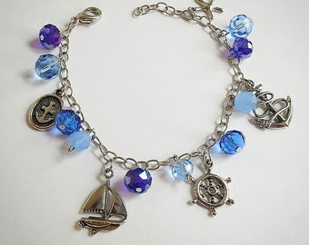 Nautical Navy Beaded Charm Bracelet