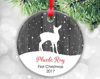 Baby's First Christmas Ornament, Personalized Bauble Disc, Children's Ornament, Deer Ornament, Babys Personalized Christmas Decoration