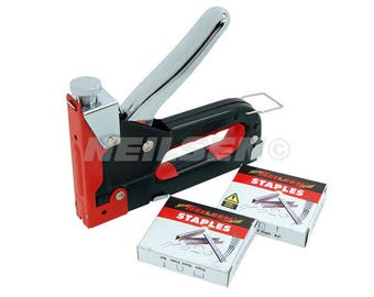3 in 1 Staple Gun, Sturdy Steel Gun with Impact Pressure Adjustment Lock, Uses Nails, U Staples & Standard Staples Suit Upholstery CT1609