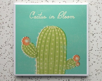 Cactus Bloom Tile Coaster