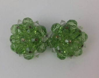 Beaded Clip on Earrings in two-tone  green & clear.