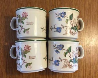 Vintage 1980s set of 4 Botanical Collection Mugs in Floral Design