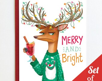 Merry and Bright - Set of 6 Christmas Cards