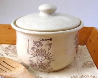 Lidded Casserole - Bean Pot - Ready to Ship - Bakeware -  Herb Motif-  Hand Thrown Stoneware Pottery