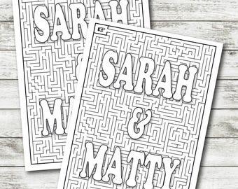 Wedding Activity Sheet - Custom Maze - Bride and Grooms Names -