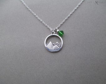 Round Mountains Charm Necklace - Silver