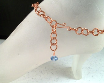 Natural Copper Ankle Bracelet with Blue Swarovski Crystal Bead Charm Adjustable up to 11.25 Inches Long (28.575cm) With Your Choice of Clasp