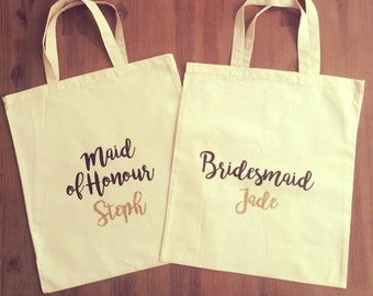 Bridal Party Calico Tote/Gift Bags