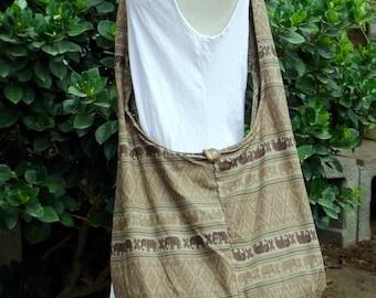 X LARge Hobo Boho Crossbody Hippy Vegan Woman Girl Bag Elephant Bag Cotton Messenger Bag with Zipper Khaki Beige