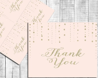 Gold and Pink Thank You Card, INSTANT DOWNLOAD, Digital File, Printable