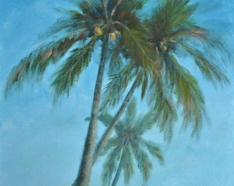 Original Tropical Landscape painting of palm trees (Three Palms) - Free Shipping