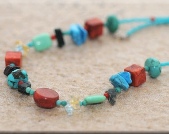 Coral and Turquoise Necklace and Earring Set