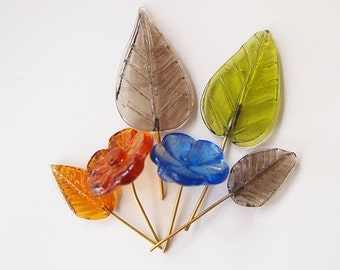 12 Glass Leaf Beads Charms Translucent Assorted Colours Shapes & Sizes For Jewellery Tiaras and Bridal