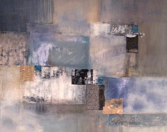 "Modern Abstract Painting ""Neutral Square"", 48""x48"" Acrylic/Mixed Media on Canvas, Original Artwork Direct from the Studio of Laurie Fields"