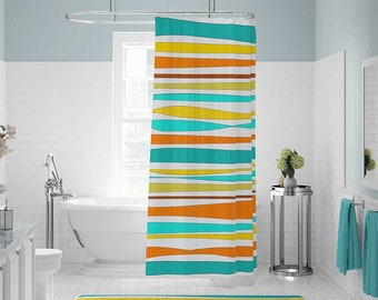 Shower Curtain, Bath Mat, Striped Shower Curtain, Yellow Orange Teal Aqua Blue Shower Curtains, Bath Curtain, Colorful Bathroom Decor