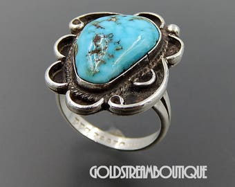 Navajo signed sterling silver gorgeous turquoise swirls ring size 8.75