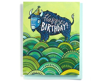 Birthday Card: Buffalo on green hills, illustrated and hand-lettered in blues and greens