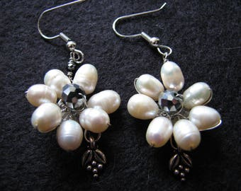 Fresh water pearl earrings | flower | dangle | pewter | hematite | floral | nature inspired