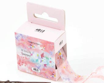 Pink washi tape, watercolor washi tape, pink colorful washi tape