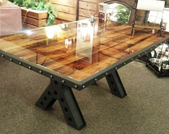 Metal Kitchen Table Modern industrial rustic 9 foot dining table kitchen table modern industrial rustic 6 foot dining table kitchen table conference table made of recycled workwithnaturefo