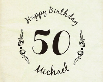 Custom Stamp, Custom Rubber Stamp,custom Rubber Stamp Happy Birthday -50 other years old- Birthday gift