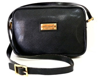 Vintage Pascal Morabito Black Leather Bag Authentic Crossbody Satchel Purse made in Paris France