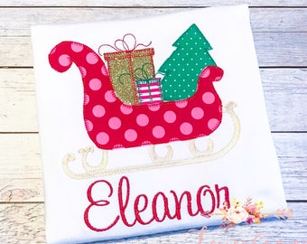 Girly sleigh ride Christmas applique shirt for girls, Christmas, Polka Dots, Personalized