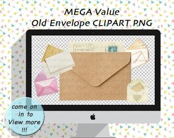 envelope clipart/digital envelope/letters clipart/digital collage/scrapbooking/digital elements/old envelope/old letters/old paper/