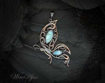 Moonstone wire wrapped pendant anniversary gift for women birthstone gift copper necklace birthday gift for girlfriend butterfly pendant