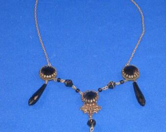 Vintage 1920's Black Jet Mourning Necklace