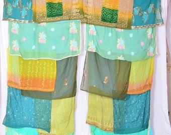 Boho Gypsy Sari Curtains  Boho Decor  Upcylced  Bohemian Gypsy Curtains saree sarees C105