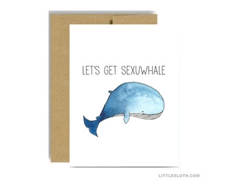 Valentines day greeting card - let's get sexuwhale sexual blue pun punny watercolor kraft vday love anniversary husband boyfriend wife