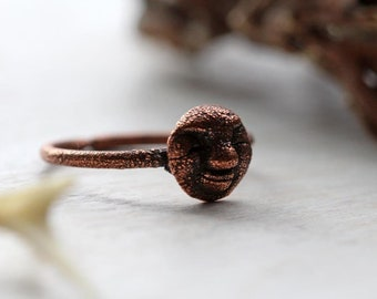 Moon Ring - Copper Ring - Moon Face Ring - Astronomy Lover Gift