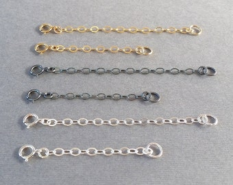 Adjustable Extender Chains, 925 Sterling Silver, Oxidized Sterling Silver, 14K Gold Filled, Precious Metal, 2 Inch 3 Inch, Necklace Bracelet