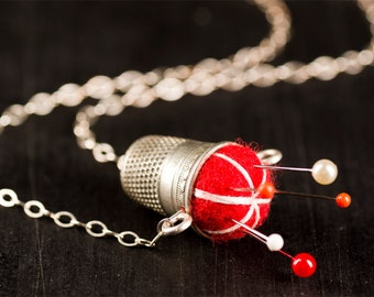 """Red with White Stitching Sterling Pincushion Necklace 19"""""""
