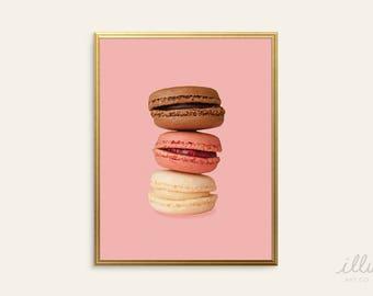 Macaron wall art, modern pastry art, pastry art print, macaroon art, French wall art, macaron picture, girl's room art, pink art,dorm decor
