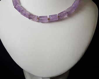Amethyst with gold plated beads