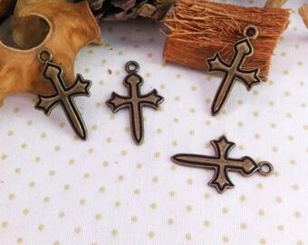 6 charms shaped cross, bronze, fine prints