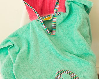 Hooded Towel Poncho, Personalized, in Aqua & Bright Pink. Boy or Girl print (your choice). Bath Towel. Beach towel.