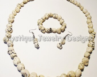 White Turquoise Nuggets Necklace Set