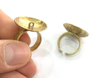 Raw Brass Adjustable Ring Findings G3284