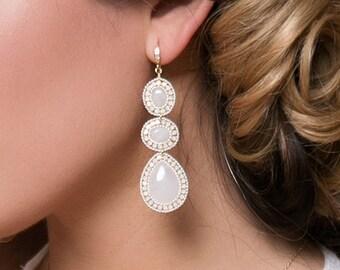 Bridal Jewelry Opal Earrings Boho Jewelry Gold Earrings Bridal Accessories Long Earrings Moonstone E075-G